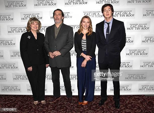 "Actors Debra Monk, Ciaran Hinds, Scarlett Johansson and Benjamin Walker attend ""Cat On A Hot Tin Roof"" photo call at Sardi's Restaurant on November..."