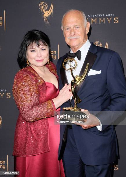 Actors Delta Birke and Gerald McRaney pose in the press room at the 2017 Creative Arts Emmy Awards at Microsoft Theater on September 10 2017 in Los...