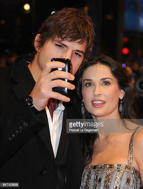 Actors Demi Moore and Ashton Kutcher attend the premiere for 'Happy Tears' as part of the 59th Berlin Film Festival at the Berlinale Palast on...