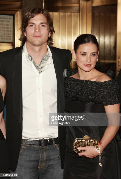 Actors Demi Moore and Ashton Kutcher attend the premiere of Live Free Or Die Hard presented by Twentieth Century Fox at Radio City Music Hall on June...