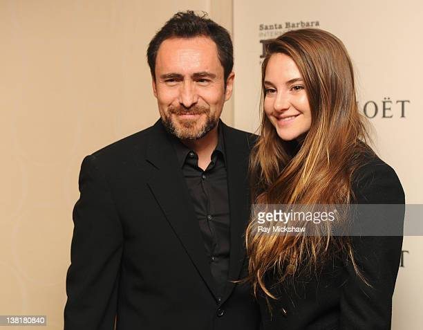 Actors Demian Bichir and Shailene Woodley backstage at the Virtuosos Award Tribute at the Arlington Theatre on February 3 2012 in Santa Barbara...
