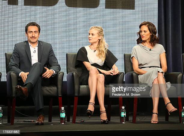Actors Demian Bichir Diane Kruger and Annabeth Gish speak onstage during The Bridge panel discussion at the FX portion of the 2013 Summer Television...
