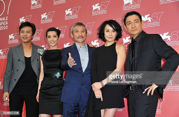 Actors Deng Chao Li Bingbing Director Tsui Hark Carina Lau and Andy Lau attend the Detective Dee And The Mystery Of Phantom Flame photocall during...