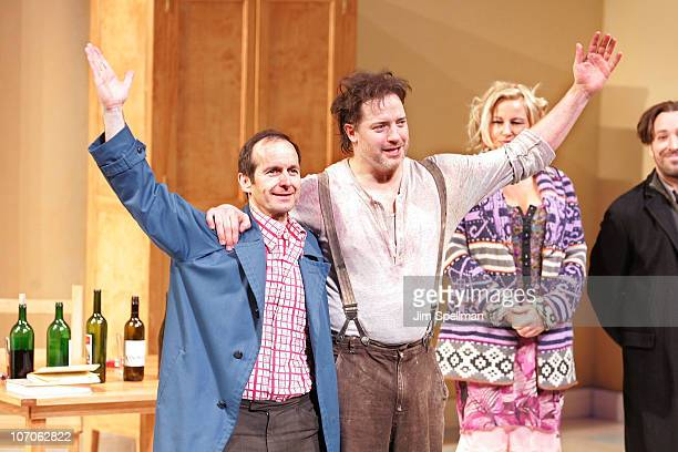 Actors Denis O'Hare Brendan Fraser and Jennifer Coolidge and attend the Broadway opening night of Elling at the Ethel Barrymore Theatre on November...