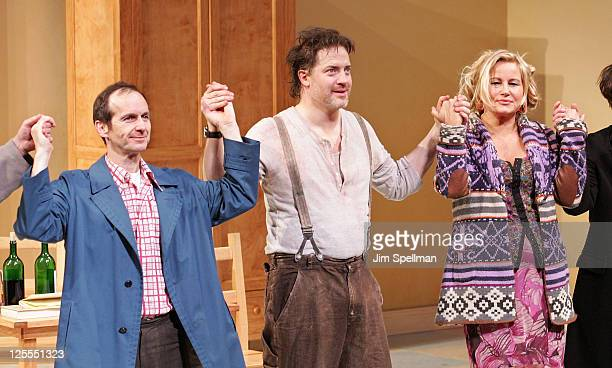 Actors Denis O'Hare Brendan Fraser and Jennifer Coolidge attend the Broadway opening night of Elling at the Ethel Barrymore Theatre on November 21...