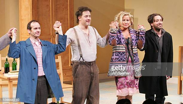 Actors Denis O'Hare Brendan Fraser Jennifer Coolidge and Jeremy Shamos attend the Broadway opening night of Elling at the Ethel Barrymore Theatre on...