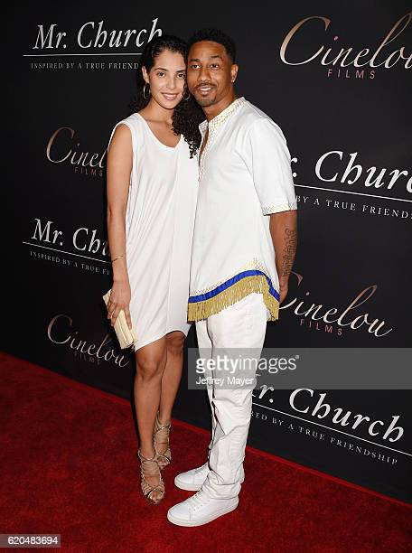 Actors Denise Xavier and Brandon T Jackson arrive at the premiere of Cinelou Releasing's 'Mr Church' at ArcLight Hollywood on September 6 2016 in...