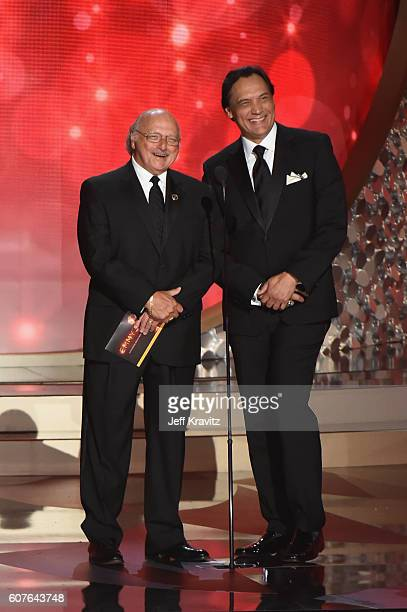 Actors Dennis Franz and Jimmy Smits speak onstage during the 68th Annual Primetime Emmy Awards at Microsoft Theater on September 18 2016 in Los...
