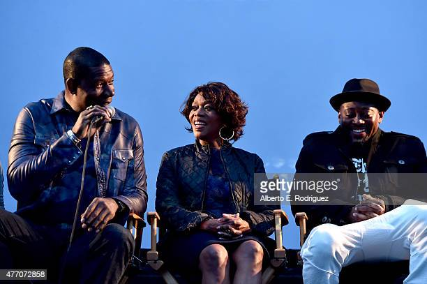 Actors Dennis Haysbert Alfre Woodard and Omar Epps speak onstage at the 'Love and Basketball' screening during the 2015 Los Angeles Film Festival at...