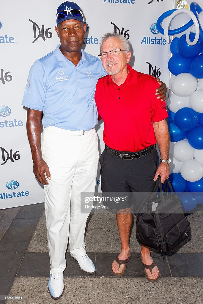 Actors Dennis Haysbert (L) and David Leisure attend the 2nd Annual Dennis Haysbert Humanitarian Foundation Celebrity Golf Classic at Lakeside Golf Club on August 26, 2013 in Burbank, California.