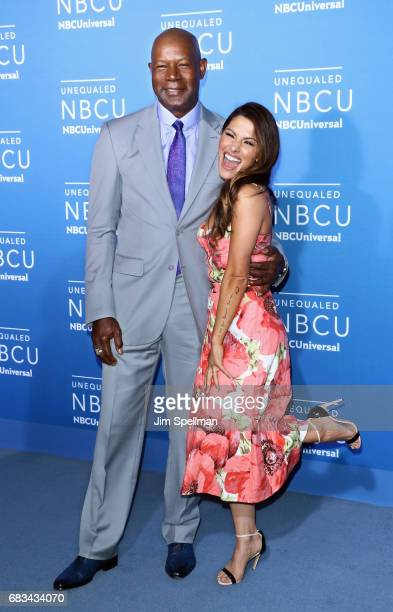 Actors Dennis Haysbert and Sarah Shahi attend the 2017 NBCUniversal Upfront at Radio City Music Hall on May 15 2017 in New York City