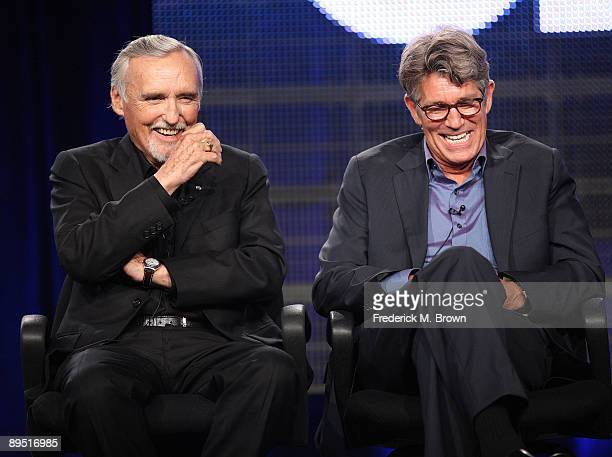 """Actors Dennis Hopper and Eric Roberts of the television show """"Crash"""" speak during the Starz Network segment of the Television Critics Association..."""