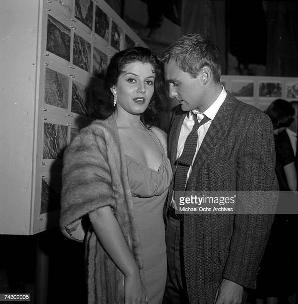 Actors Dennis Hopper and Joan Bradshaw attend a party for French stars on April 19 1957 in Los Angeles California