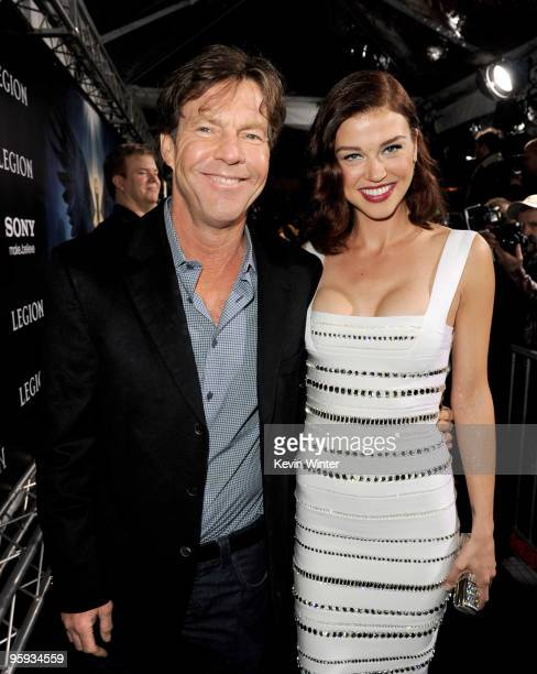 "Actors Dennis Quaid and Adrianne Palicki arrive at the premiere of Screen Gems' ""Legion"" at the ArcLight's Cinerama Dome Theater on January 21, 2010..."