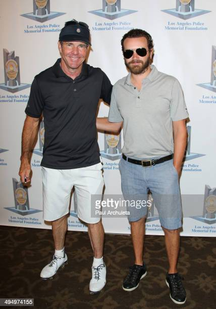 Actors Dennis Quaid and Danny Masterson attend the Los Angeles Police Memorial Foundation Celebrity Golf Tournament Family Fun Day at Brookside Golf...