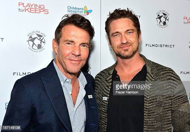Actors Dennis Quaid and Gerard Butler arrive at the special Children's Hospital Los Angeles' Benefit screening of 'Playing For Keeps' at ArcLight...