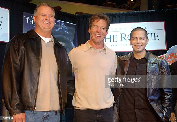 Actors Dennis Quaid and Jay Hernandez join baseball player Jim Morris March 26 2002 at Planet Hollywood in New York to promote the upcoming film The...