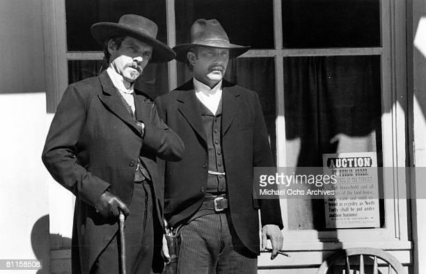 Actors Dennis Quaid and Kevin Costner star in the film 'Wyatt Earp'