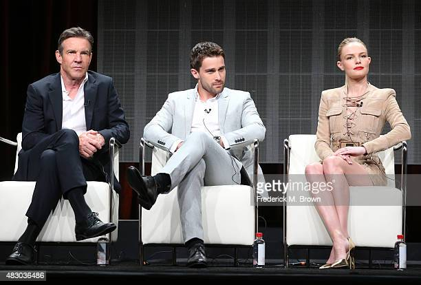 Actors Dennis Quaid Christian Cooke and Kate Bosworth speak onstage during 'The Art of More' panel discussion at the Crackle portion of the 2015...