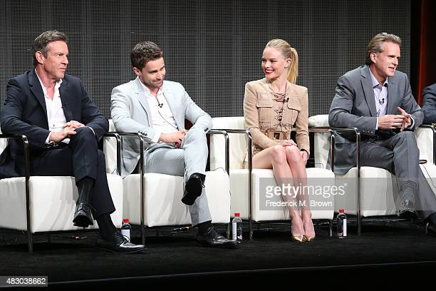 Actors Dennis Quaid Christian Cooke Kate Bosworth and Cary Elwes speak onstage during 'The Art of More' panel discussion at the Crackle portion of...