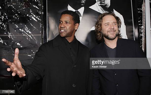 Actors Denzel Washington and Russell Crowe arrive at an industry screening of Universal Picture's and Imagine Entertainment's American Gangster at...