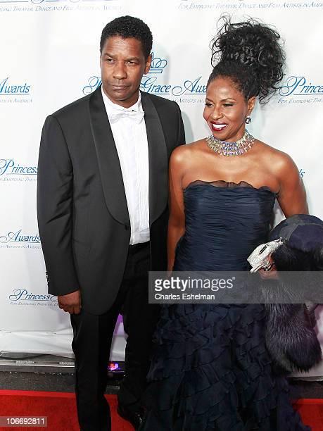 Actors Denzel Washington and wife Pauletta Washington attend the Princess Grace Awards Gala at Cipriani 42nd Street on November 10 2010 in New York...