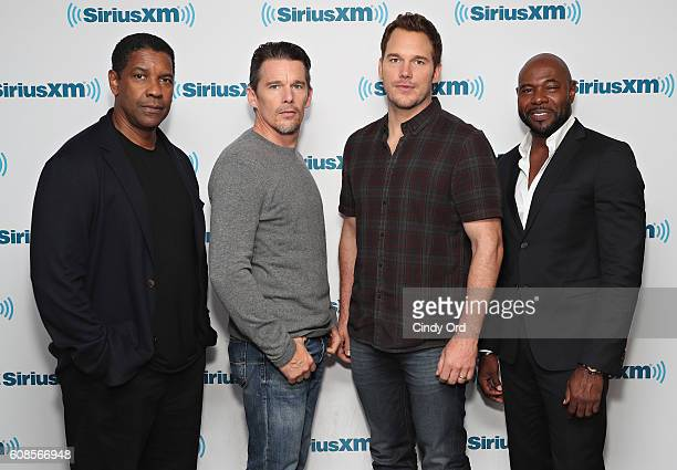 Actors Denzel Washington Ethan Hawke and Chris Pratt and director Antoine Fuqua participate in SiriusXM's 'Town Hall' with the cast of 'The...