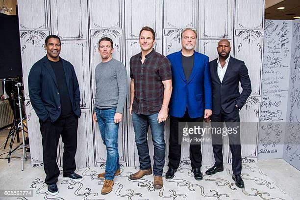 Actors Denzel Washington Ethan Hawke Chris Pratt Vincent DÕOnofrio and Director Antoine Fuqua discuss 'The Magnificent Seven' during AOL Build at AOL...