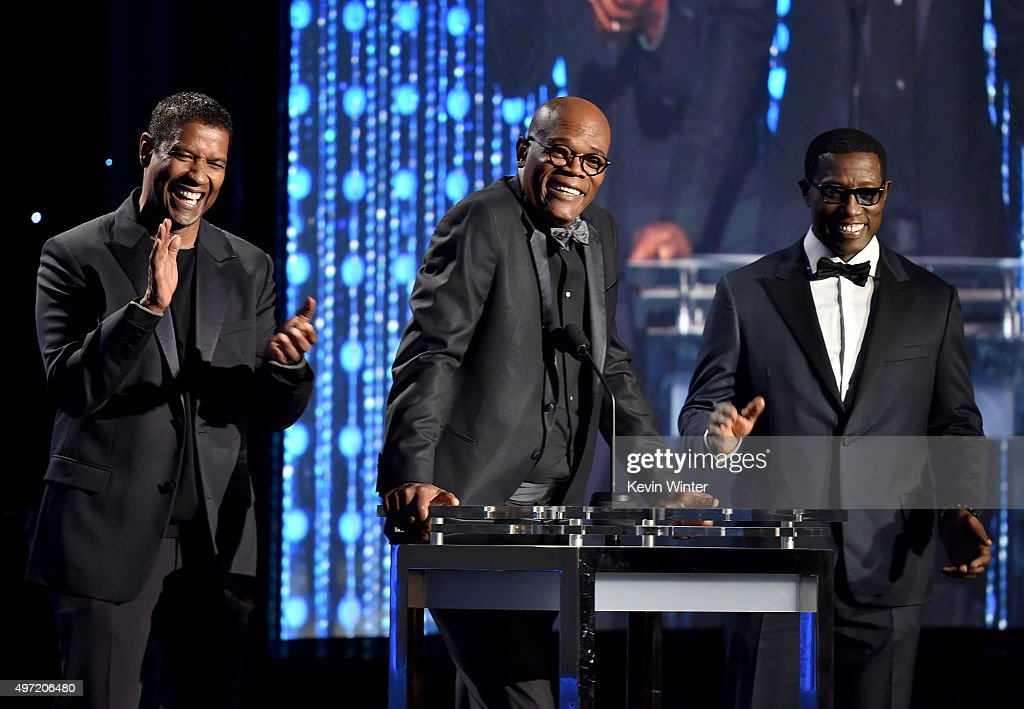 Actors Denzel Washington, Samuel L. Jackson and Wesley Snipes speak onstage during the Academy of Motion Picture Arts and Sciences' 7th annual Governors Awards at The Ray Dolby Ballroom at Hollywood & Highland Center on November 14, 2015 in Hollywood, California.