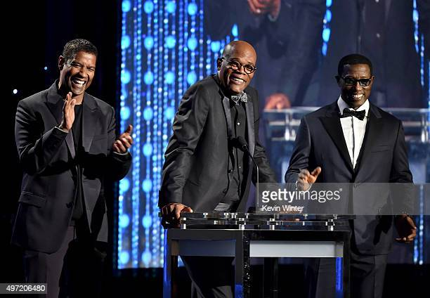 Actors Denzel Washington Samuel L Jackson and Wesley Snipes speak onstage during the Academy of Motion Picture Arts and Sciences' 7th annual...