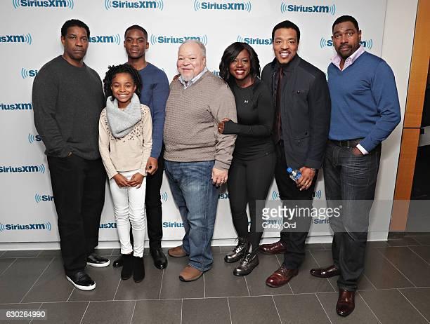 Actors Denzel Washington Saniyya Sidney Jovan Adepo Stephen Henderson Viola Davis Russell Hornsby and Mykelti Williamson take part in SiriusXM's Town...