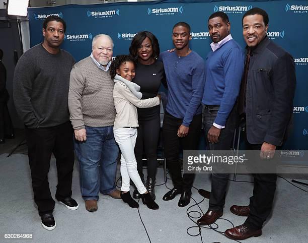 Actors Denzel Washington Stephen Henderson Saniyya Sidney Viola Davis Jovan Adepo Mykelti Williamson and Russell Hornsby take part in SiriusXM's Town...