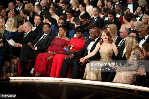 Actors Denzel Washington Viola Davis Julius Tennon and Emma Stone attend the 89th Annual Academy Awards at Hollywood Highland Center on February 26...