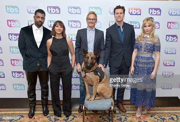 Actors Deon Cole Rashida Jones Jere Burns Hayes MacArthur and Andree Vermeulen of Angie Tribeca attend the 2016 TCA Turner Winter Press Tour...