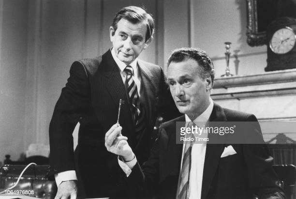 Actors Derek Fowlds and Paul Eddington in a scene from episode 'The Key' of the television sitcom 'Yes Minister' November 17th 1985
