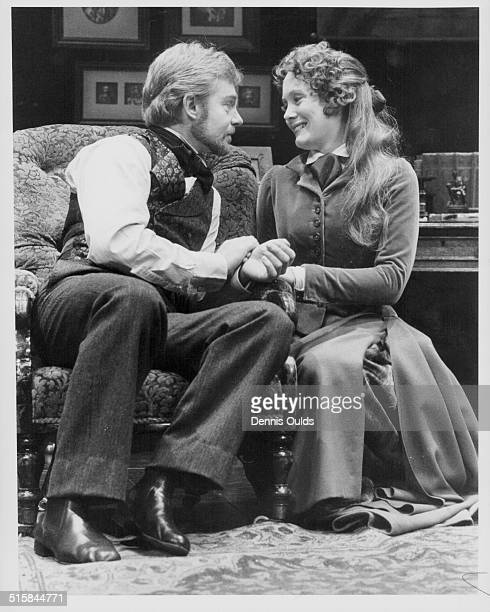 Actors Derek Jacobi and Jane Wymark performing on stage in the play 'Ivanov' at the Old Vic Theatre London August 17th 1978