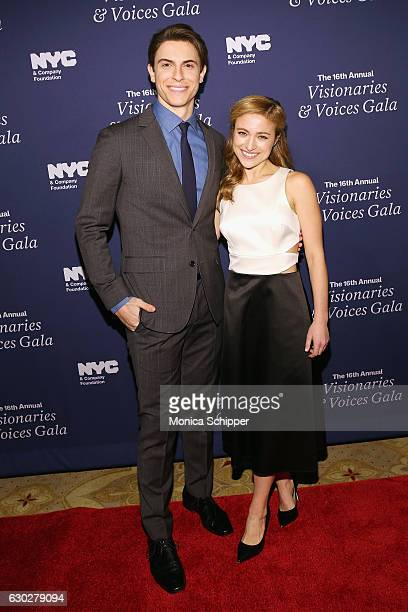 Actors Derek Klena and Christy Altomare attend the NYC Company Foundation's 16th Annual Visionaries Voices gala at The Plaza Hotel on December 19...