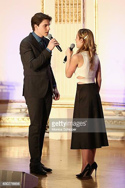 Actors Derek Klena and Christy Altomare perform onstage during the NYC Company Foundation's 16th Annual Visionaries Voices gala at The Plaza Hotel on...