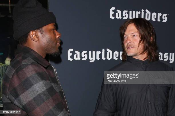 Actors Derek Luke and Norman Reedus attend the Easyriders 50th Anniversary celebration at The House of Machines on February 20 2020 in Los Angeles...
