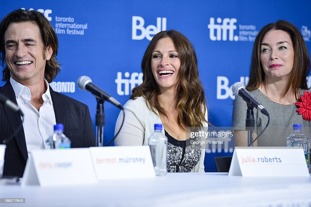 Actors Dermot Mulroney, Julia Roberts and Julianna Nicholson speak at the 'August: Osage County' Press Conference during the 2013 Toronto International Film Festival at TIFF Bell Lightbox on September 10, 2013 in Toronto, Canada.