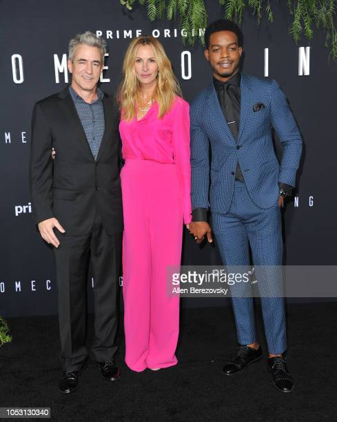 Actors Dermot Mulroney Julia Roberts and Stephan James attend the premiere of Amazon Studios' Homecoming at Regency Bruin Theatre on October 24 2018...