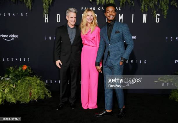 """Actors Dermot Mulroney, Julia Roberts and Stephan James attend the premiere of Amazon Studios' """"Homecoming"""" at Regency Bruin Theatre on October 24,..."""