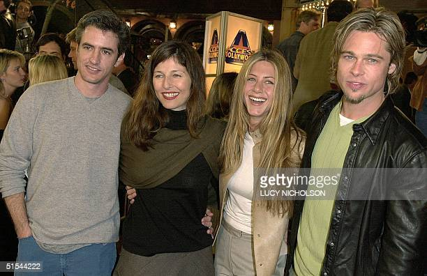 US actors Dermott Mulroney his wife Catherine Keener Jennifer Aniston and Brad Pitt arrive to the premiere of new film Erin Brockovich in Los Angeles...