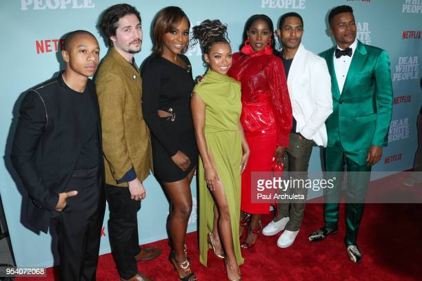 Actors DeRon Horton John Patrick Amedori Antoinette Robertson Logan Browning Ashley Blaine Featherson Brandon P Bell and Marque Richardson attend the...