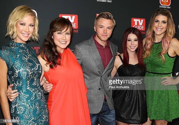 Actors Desi Lydic Nikki DeLoach Brett Davern Jillian Rose Reed and Molly Tarlov attend TV Guide magazine's annual Hot List Party at The Emerson...