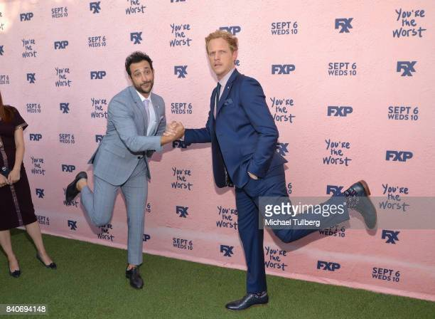 Actors Desmin Borges and Chris Geere attend the premiere of Season 4 of FXX's You're The Worst at Museum of Ice Cream LA on August 29 2017 in Los...