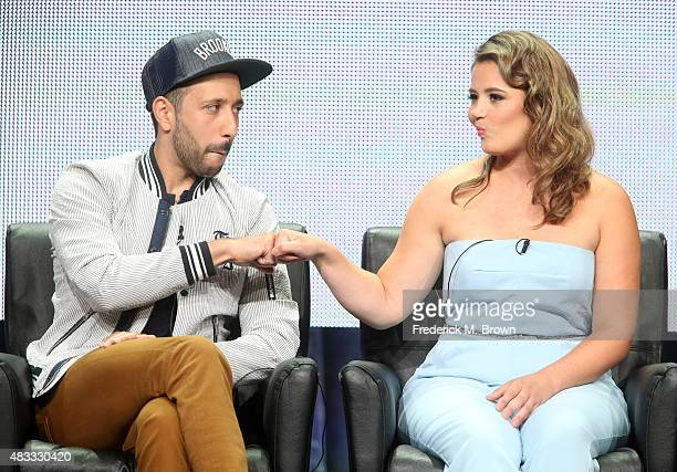 Actors Desmin Borges and Kether Donohue speak onstage during the 'You're the Worst' panel discussion at the FX portion of the 2015 Summer TCA Tour at...