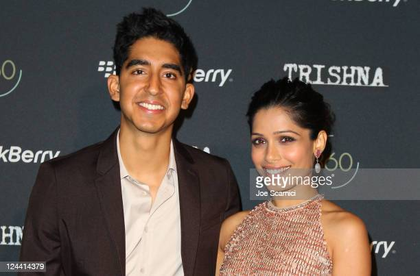 Actors Dev Patel and Freida Pinto at the BlackBerry Inside Film Lounge at Brassaii on September 9 2011 in Toronto Canada