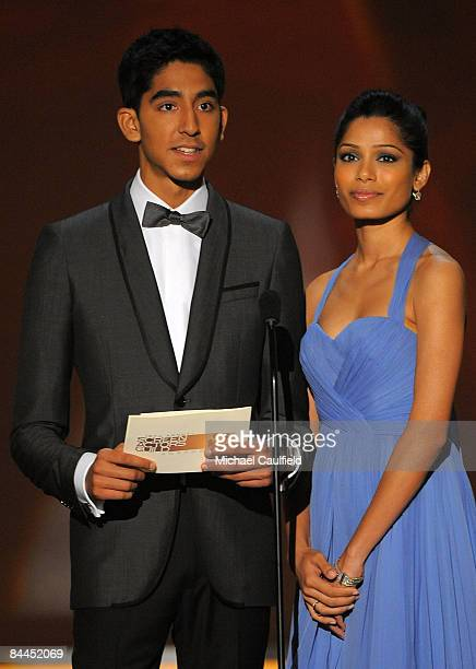 Actors Dev Patel and Freida Pinto on stage at the TNT/TBS broadcast of the 15th Annual Screen Actors Guild Awards at the Shrine Auditorium on January...