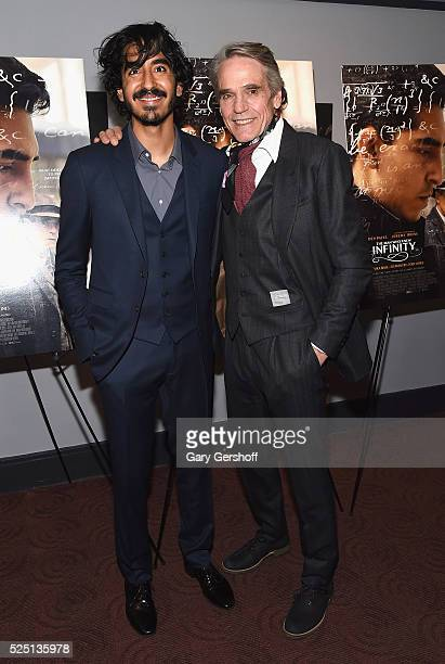 """Actors Dev Patel and Jeremy Irons attend """"The Man Who Knew Infinity"""" New York screening at Chelsea Bow Tie Cinemas on April 27, 2016 in New York City."""